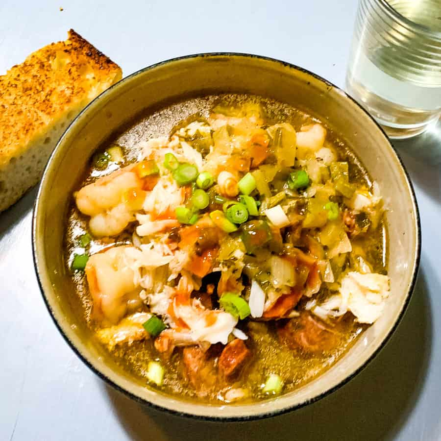 square picture of a bowl of crab gumbo