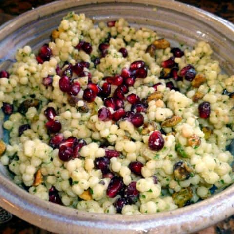 Israeli couscous salad with pomegranate seeds