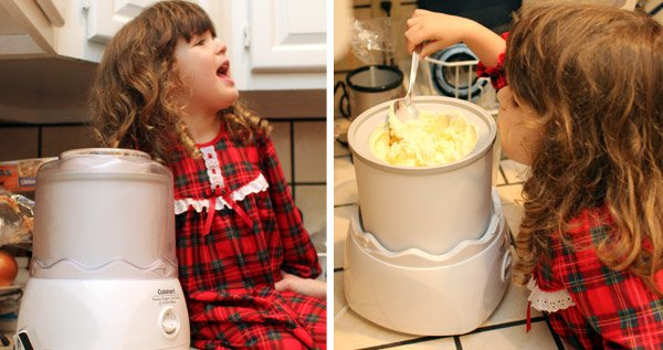 mango ice cream in an ice cream maker and the author's neice helping
