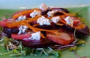Beet Salad with Blue Cheese, Crisp Candied Orange Zest, and Champagne Vinaigrette