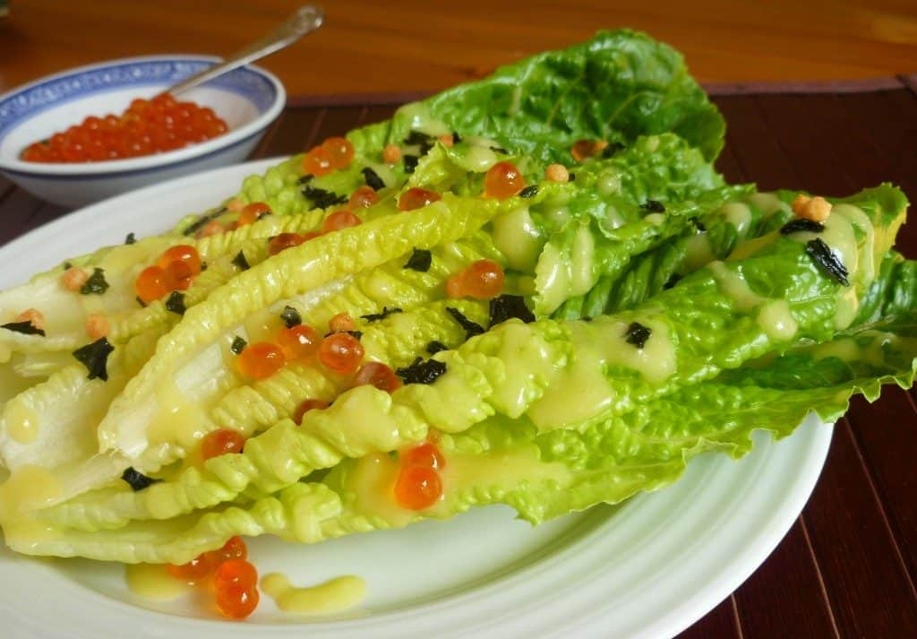 Miso Caesar Salad with salmon roe