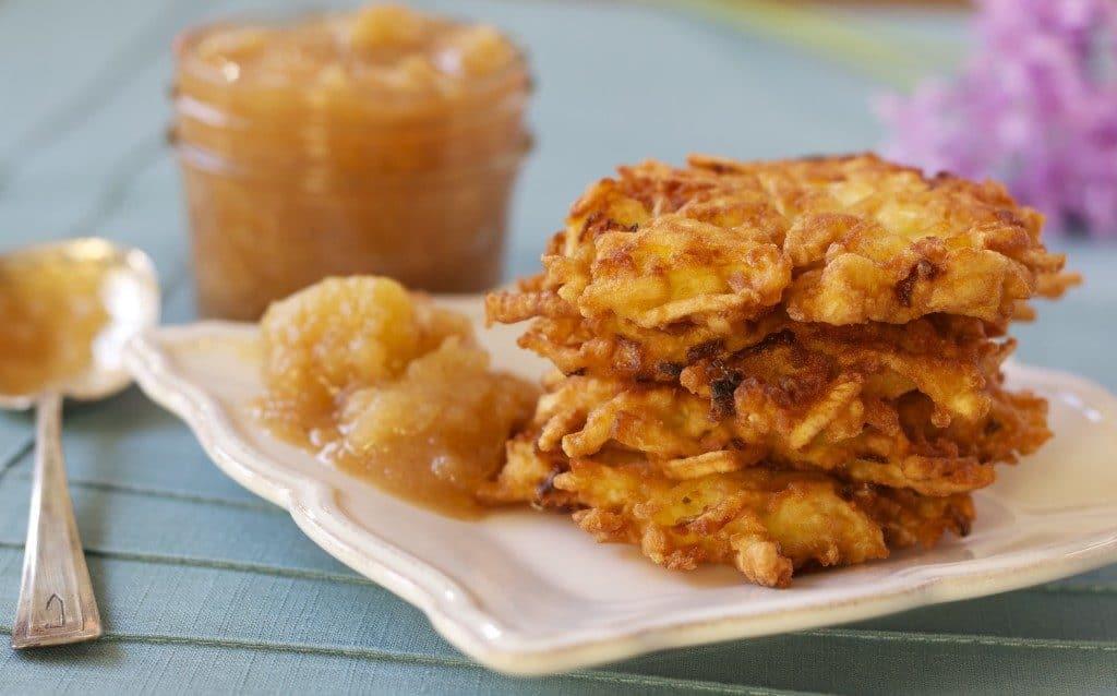 Easy latkes for Hanukkah with a side of apple sauce