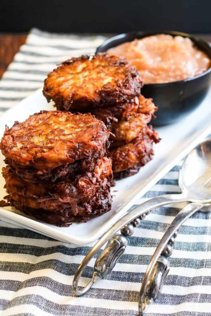crispy fried latkes on a plate