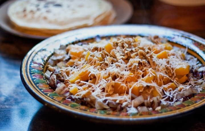 crêpe filling with walnuts, radicchio, and butternut squash