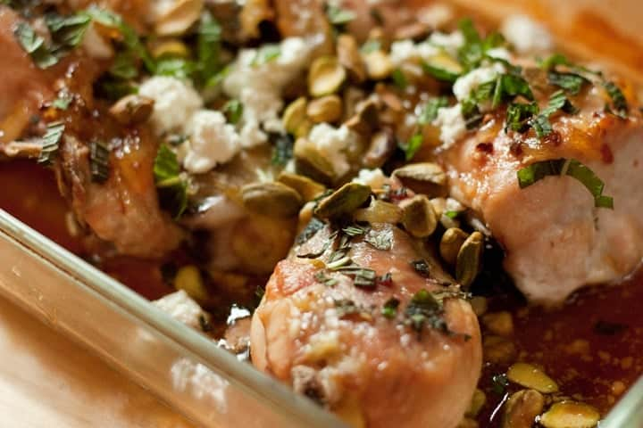 lemon chicken with marmalade glaze and pistachios