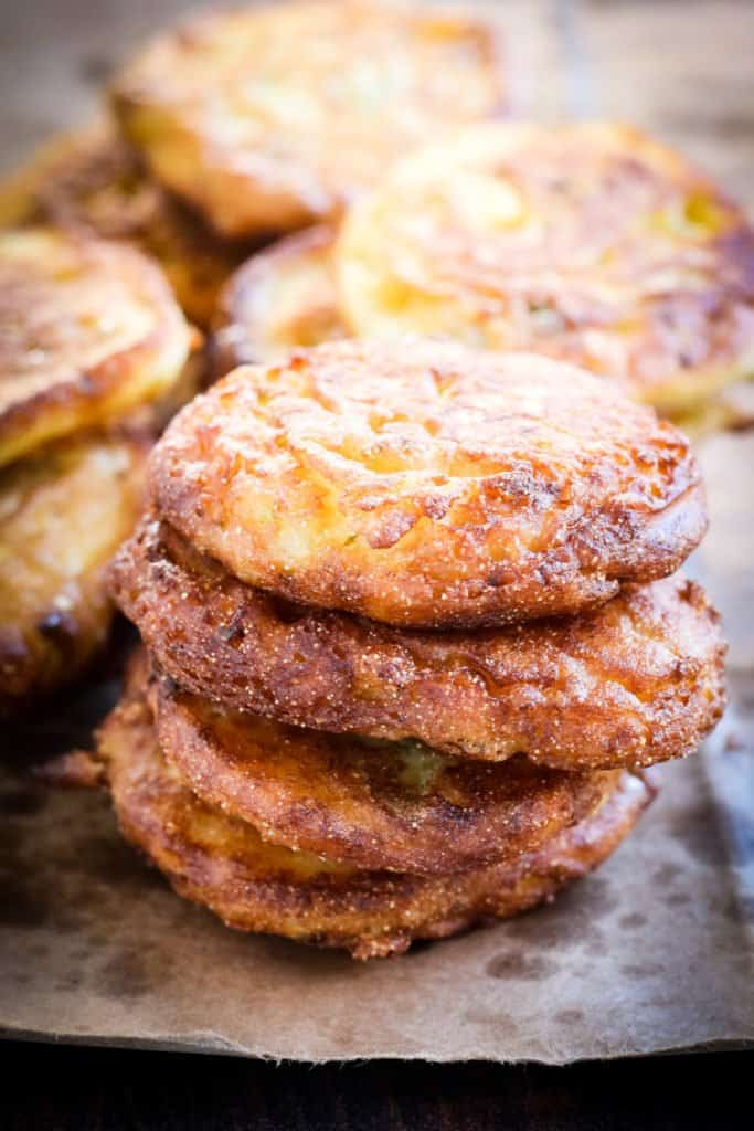 stack of fried green tomato fritters