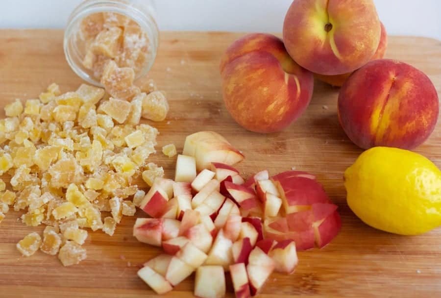 ingredients for ginger peach scones