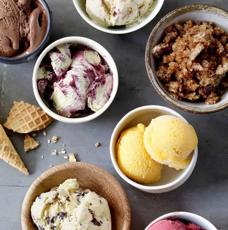homemade ice cream recipe in bowls