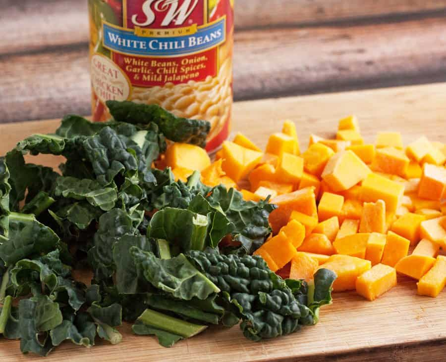 kale and butternut squash for white bean chili