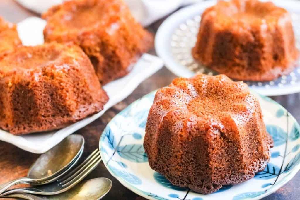 Honey cake baked in a mini bundt pan on little plates