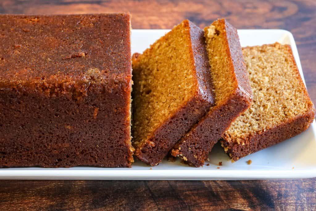 Honey cake baked in a loaf pan sliced