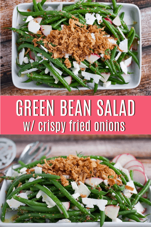 pinterst pin for green bean salad