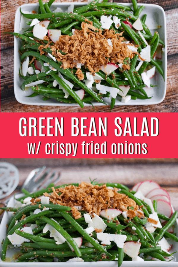 pinterst pin for green bean salad