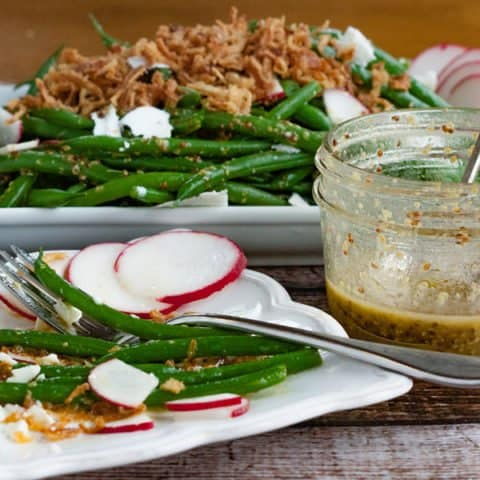 Thanksgiving Green Bean Salad with Crunchy Fried Onions