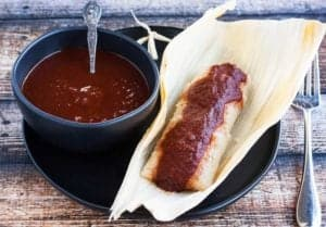 red chile sauce on tamale