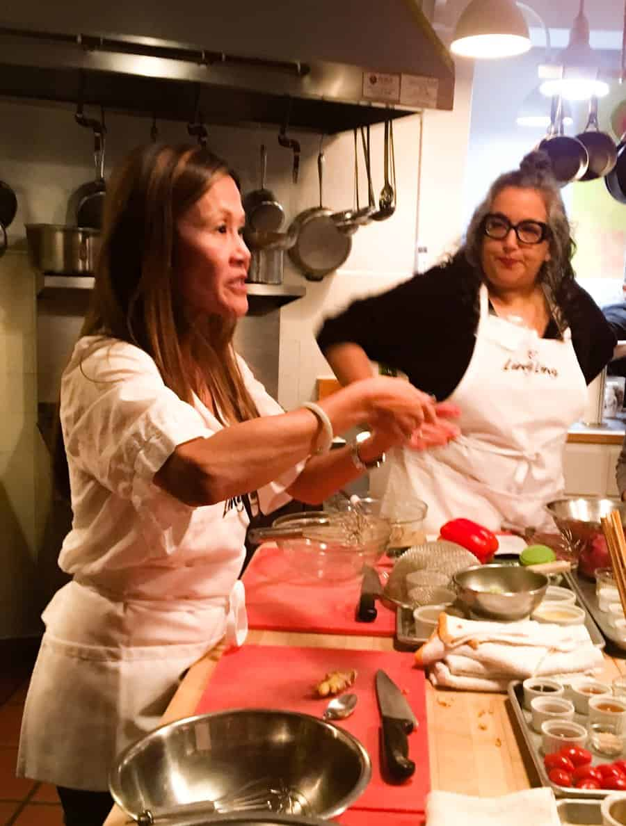 Chef Katie Chin teaches a group of bloggers how to create a menu for chinese new year