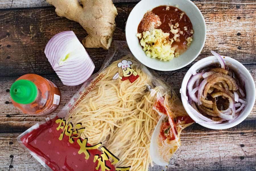 mise en place for burmese garlic noodles