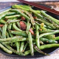Chinese Dry Fried Green Beans with Bacon