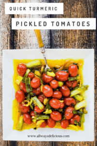 Lemongrass, serrano chiles, garlic, ginger, apple cider vinegar, and turmeric combine to make this easy, quick pickled tomatoes recipe completely addictive.