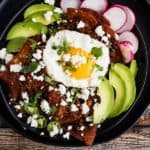 Chilaquiles with Chorizo & Red Chile Sauce
