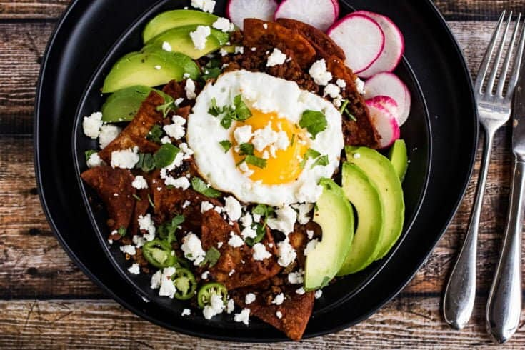 Chilaquiles with Chorizo and Red Chile Sauce