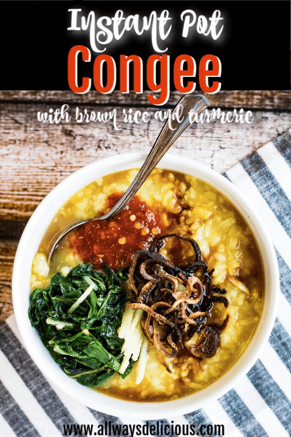 Instant pot congee with brown rice and turmeric pin