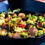 Pan-Seared Brussels Sprouts with Soy Glaze, Garlic & Chiles