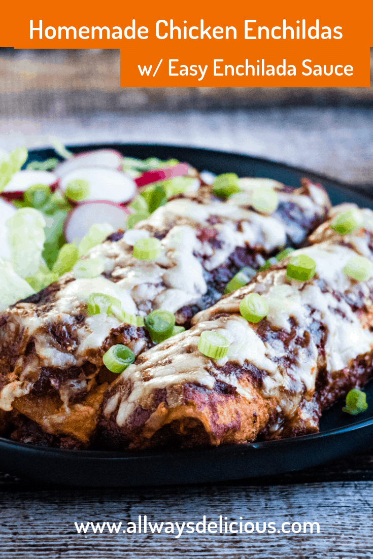 Homemade Chicken Enchiladas with Easy Enchilada Sauce are simple to make and so delicious!