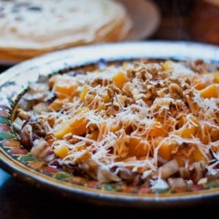 Crepes with Radicchio, Butternut Squash, and Walnuts