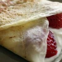 Dessert Crepe Filling with Sweet Ricotta Cream and Strawberries