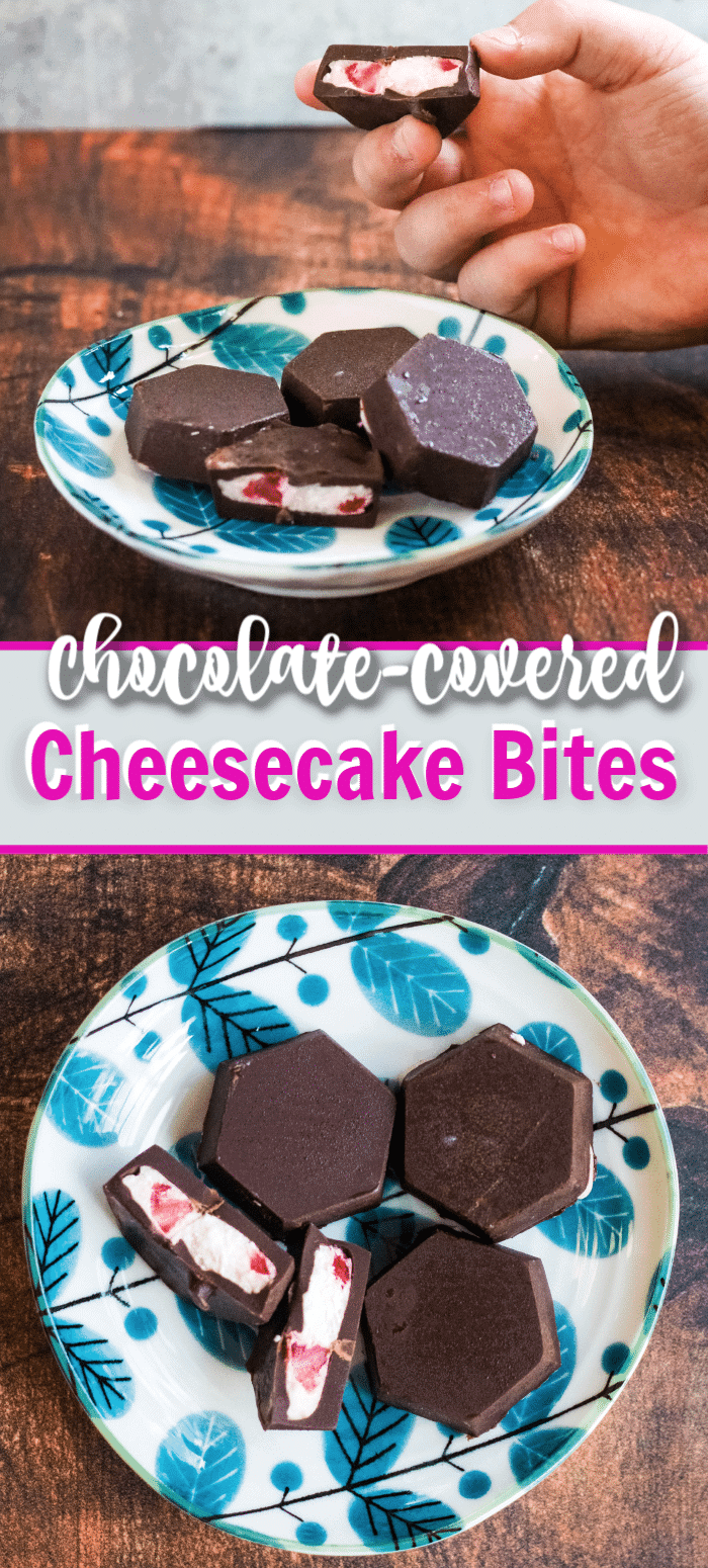 Chocolate Covered Chocolate Covered Strawberry cheesecake bites are easy to make in just minutes and this recipe is perfectly portioned to serve two people. #dessertfortwo #cheesecakebites #nobakdessert