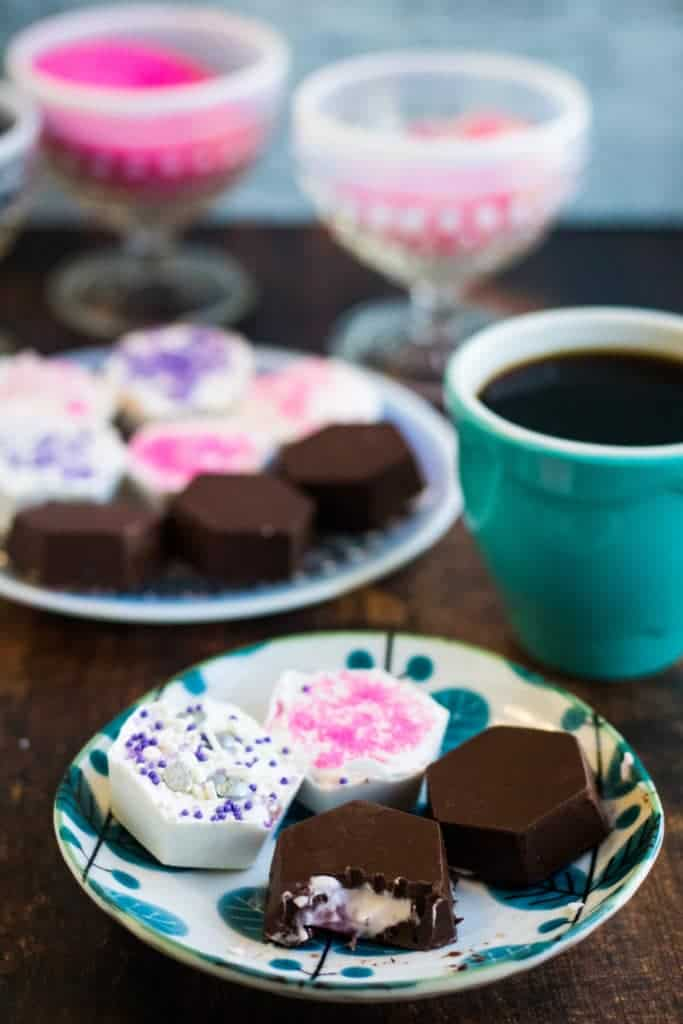 assorted cheesecake bites with coffee