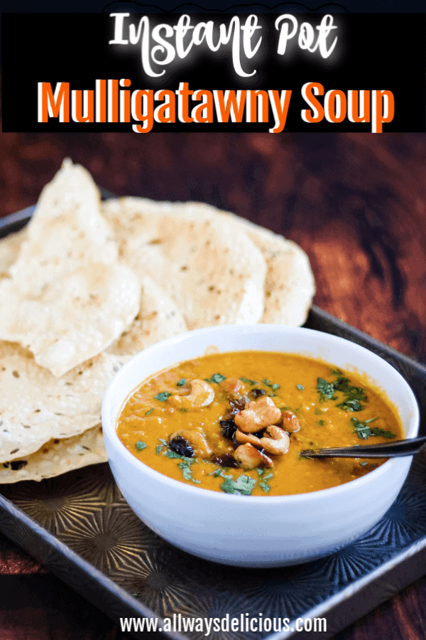 Instant Pot Mulligatawny Soup is an easy and satisfying vegetarian soup of lentils, brown rice, and apples in a rich, creamy curry-scented broth. #easyrecipe #instantpotrecipe #soup #homemade
