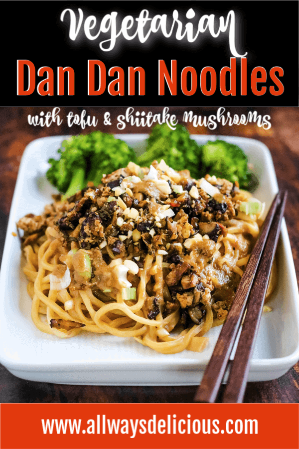 Pinterest pin for vegetarian dan dan noodles