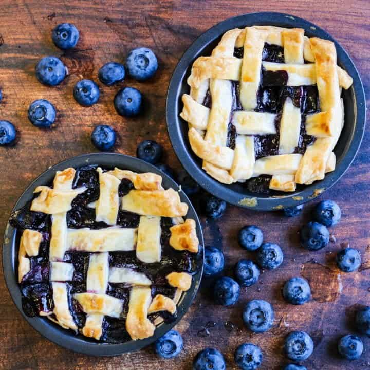 Mini Blueberry Pie with a Lattice Top
