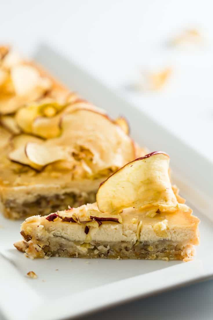 Honey Cheesecake with Apple Pecan Shortbread Crust