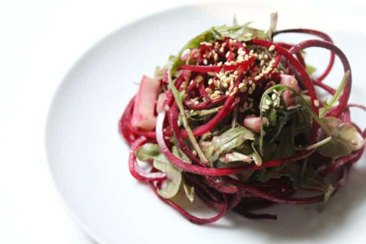 Raw Balsamic Tahini Beet Noodles - Strength and Sunshine