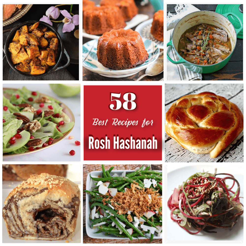 collage of 58 best recipes for Rosh Hashanah