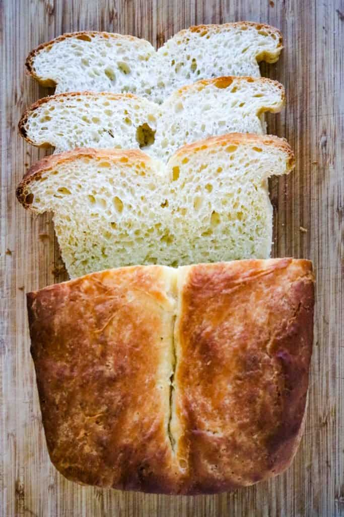 Buttermilk bread sliced and shot from overhead