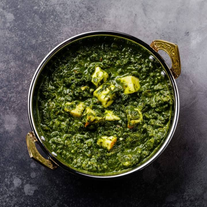 Palak Paneer (homemade Indian cheese with spinach curry)