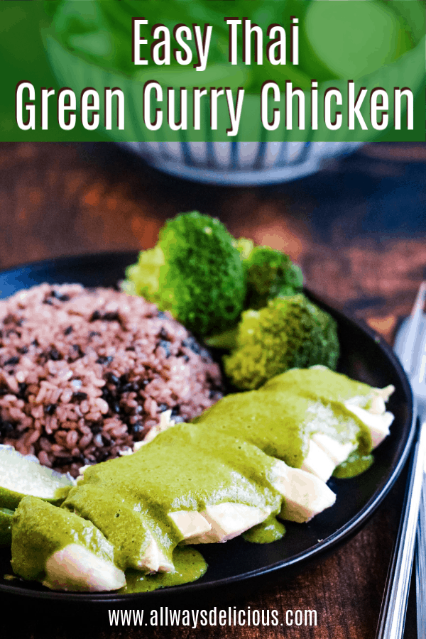 This delicious Thai Green Curry Chicken is quick and easy to make. It's made using a store-bought green curry paste, coconut milk, a little brown sugar, fish sauce, lime juice, and a whole lot of fresh herbs. #thaifood #curry #greencurry #currypaste