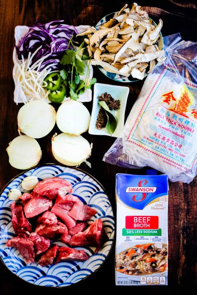 display of ingredients for pho including onion, garlic, noodles, broth, beef
