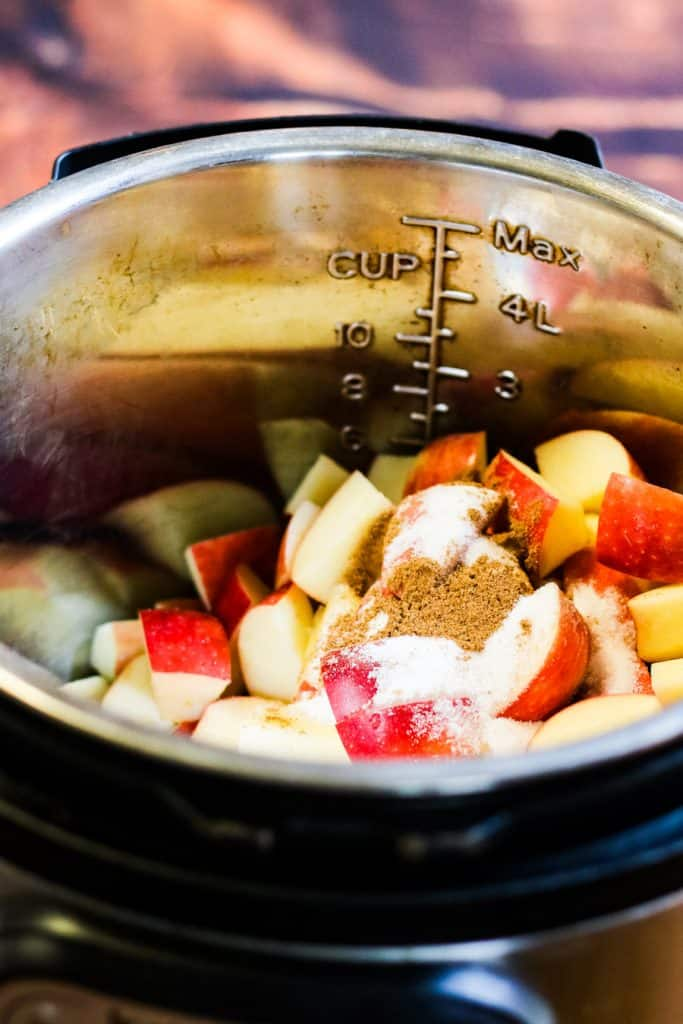 apples in the instant pot with sugar and cinnamon