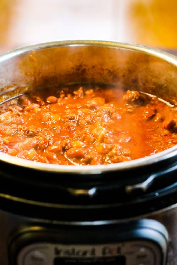 chili cooking in the instant pot