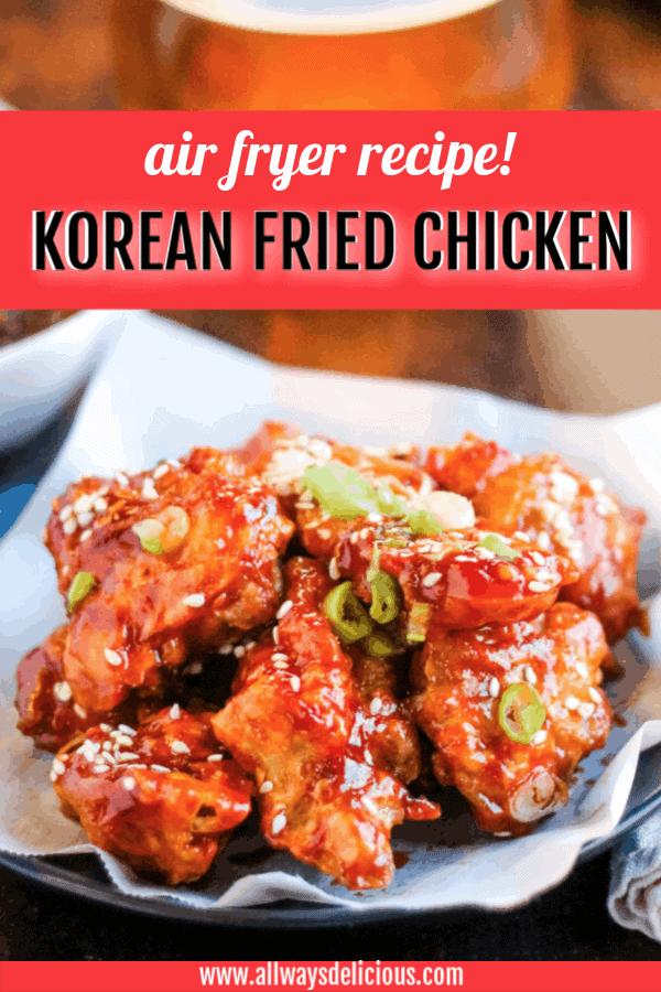 pinterest pin for air fryer korean fried chicken
