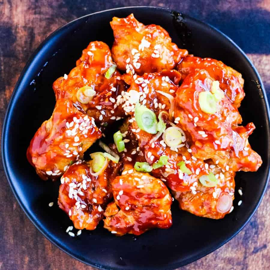 square picture of korean chicken shot from overhead