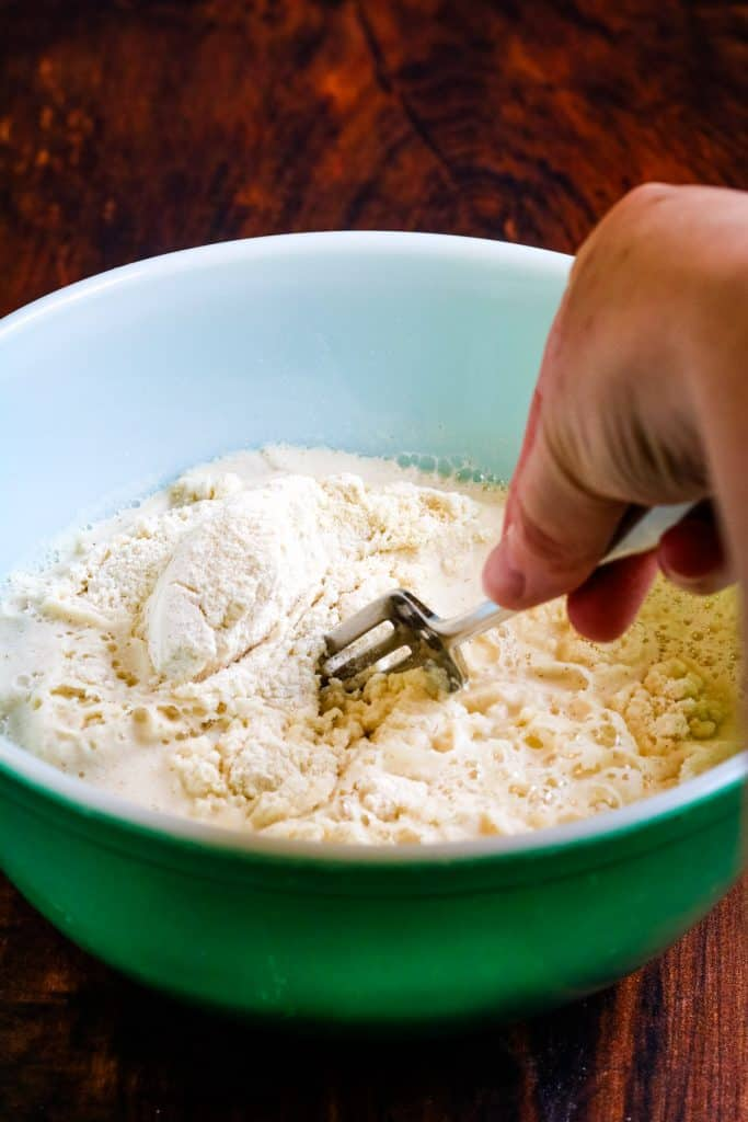 mixing masa harina and water