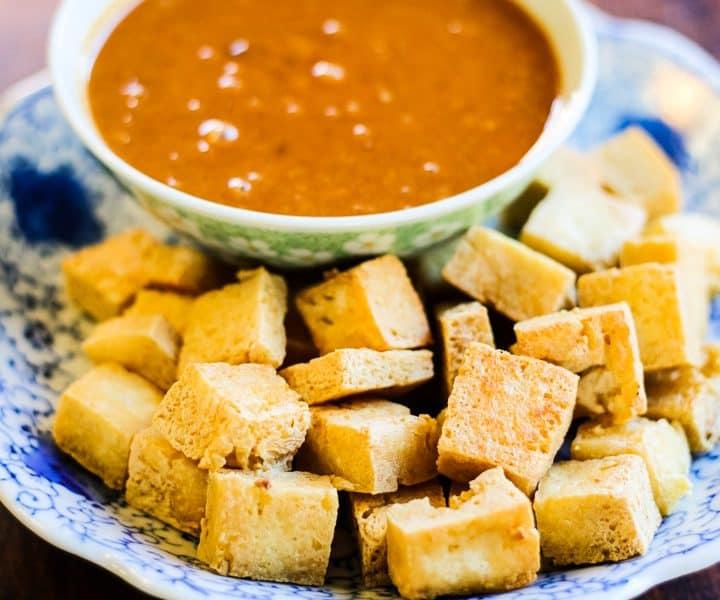 crispy tofu nuggets with 5-ingredient peanut sauce