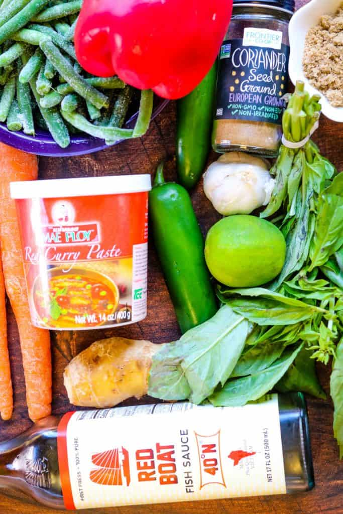 ingredients for thai curry chicken with coconut milk